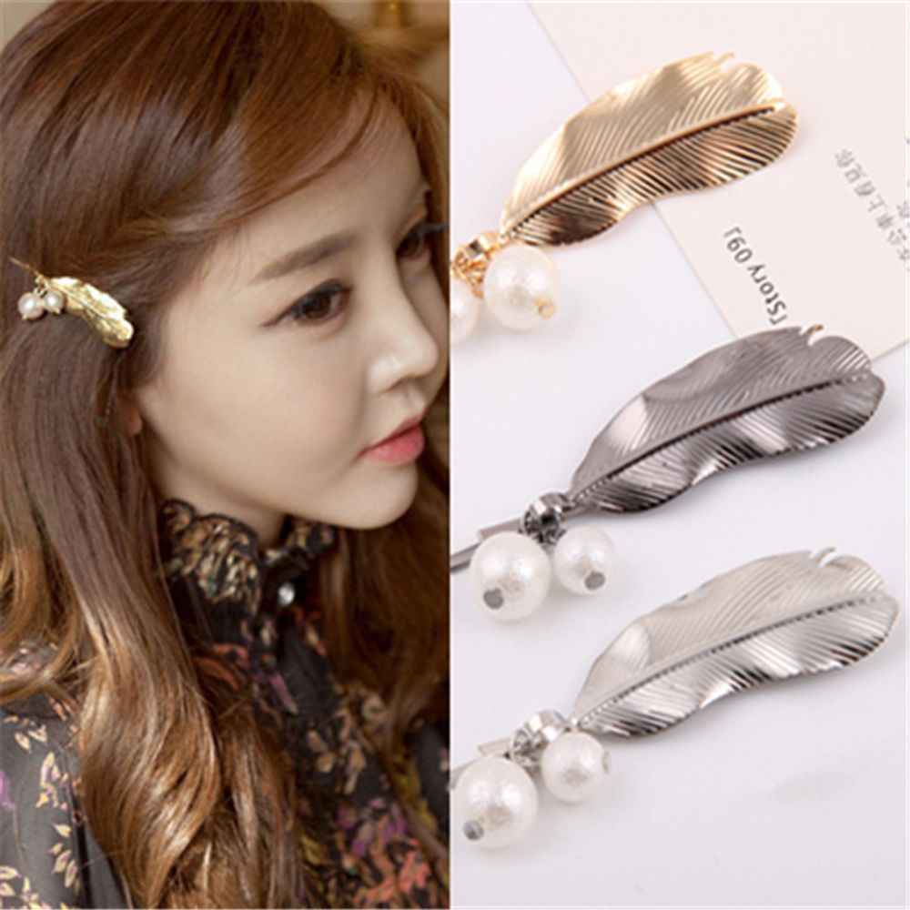1PC Fashion Women Leaf Feather Hair Clips Metal Geometry Hairpins Barrettes Hair Ornament Party Decoration Hair Accessories