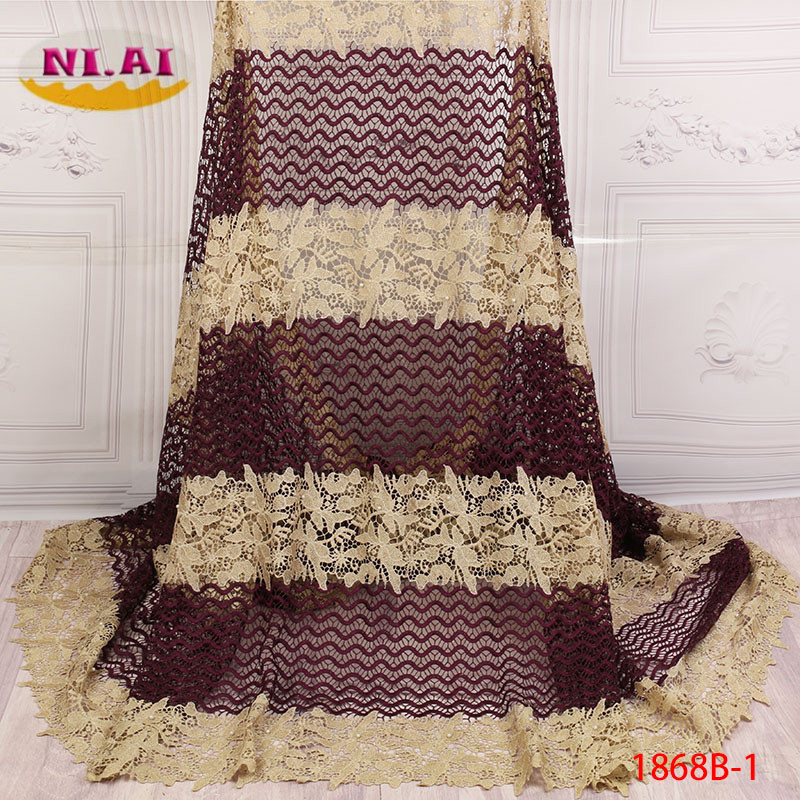2018 Latest African French Guipure Beaded Lace Fabric High Quality Lace Material Nigerian Tulle Net Laces