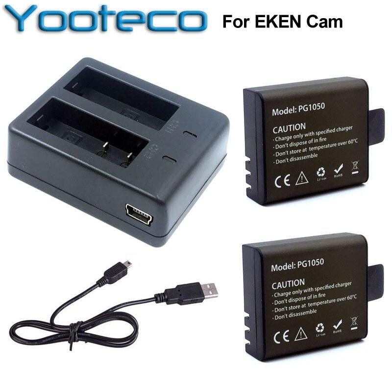Pour EKEN Accessoires Double Chargeur + 2 Pcs 1050 mAh De Secours Rechargeable Li-ion Batterie Pour H9 H9R H8PRO H8R H8 pro D'action caméra