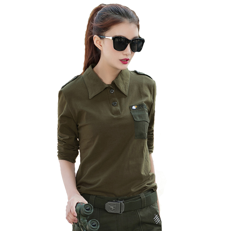 New Camo Cotton Tactical Military T Shirt Women Outdoor Hiking Camping T-shirt Long Sleeve Turn Down Collar Combat Polo Shirt