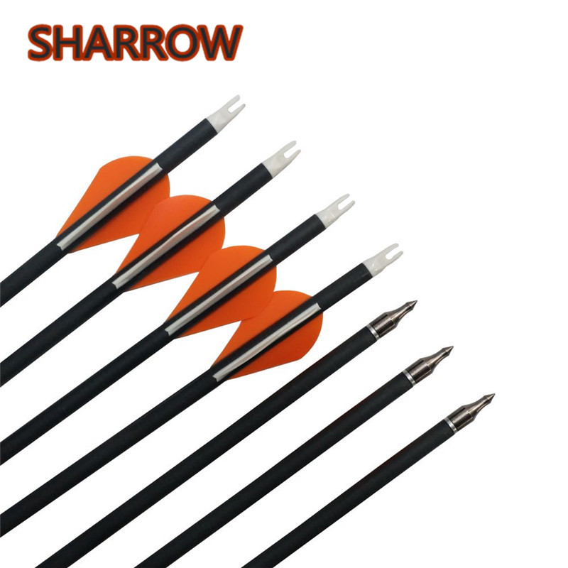 """12pcs 30"""" Carbon Arrows Target Practice Arrows Spine 400 Pure Carbon Arrow For Bow Outdoor Shooting Training Archery Accessories-in Darts from Sports & Entertainment    1"""