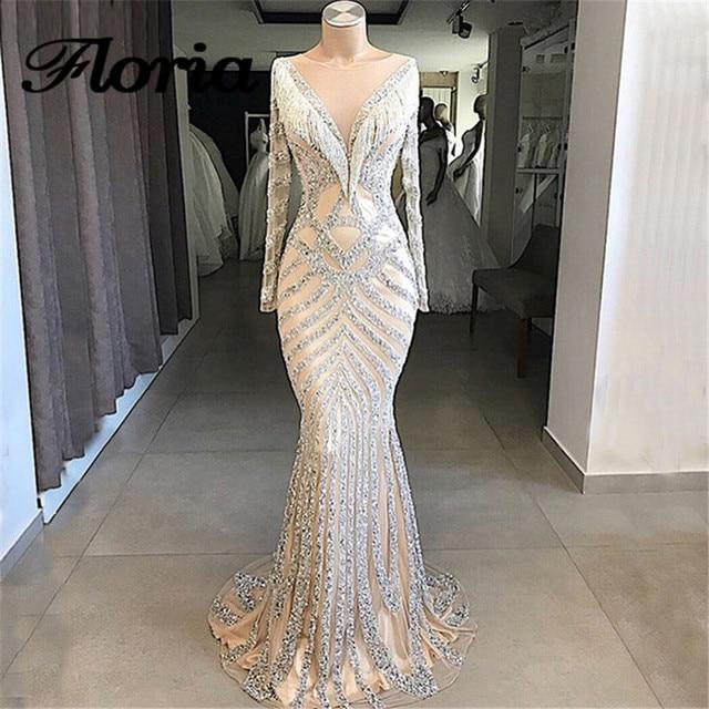 African Nude Beaded Mermaid Evening Dresses Aibye Arabic Turkish Long Sleeve Prom Dress For Weddings Robe de soiree Abendkleider
