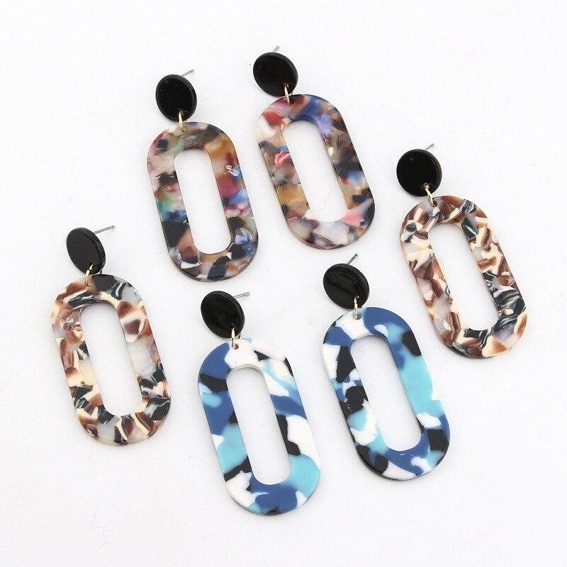 2019 New Fashion Leopard Grain Multi-Color Big Hook Acrylic Earrings Special Design Semicircle Resin Drop Earring 5