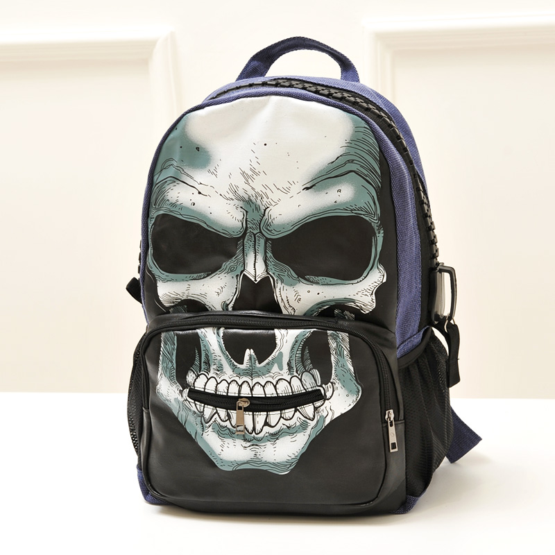 63248fd2d65 Skull punk casual personalized print backpack street bag children backpacks  cool backpacks for college school bags for boys. Price
