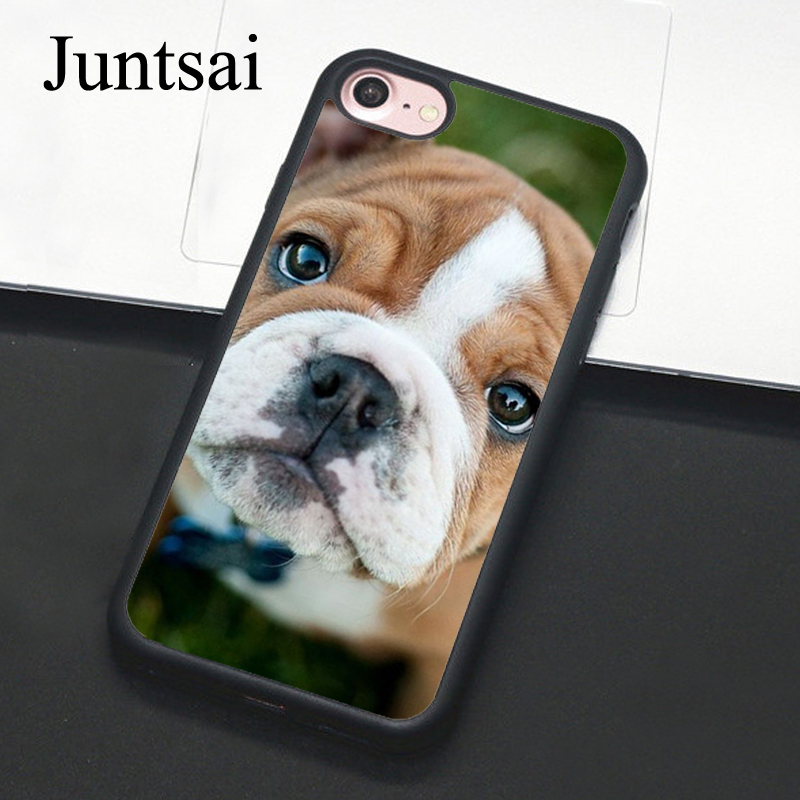 Juntsai Pitbull dog Bulldog Phone Case For iPhone 7 6 6s Plus Full Back Cover Soft TPU Cases For iPhone7 8 Plus X 5 5s SE