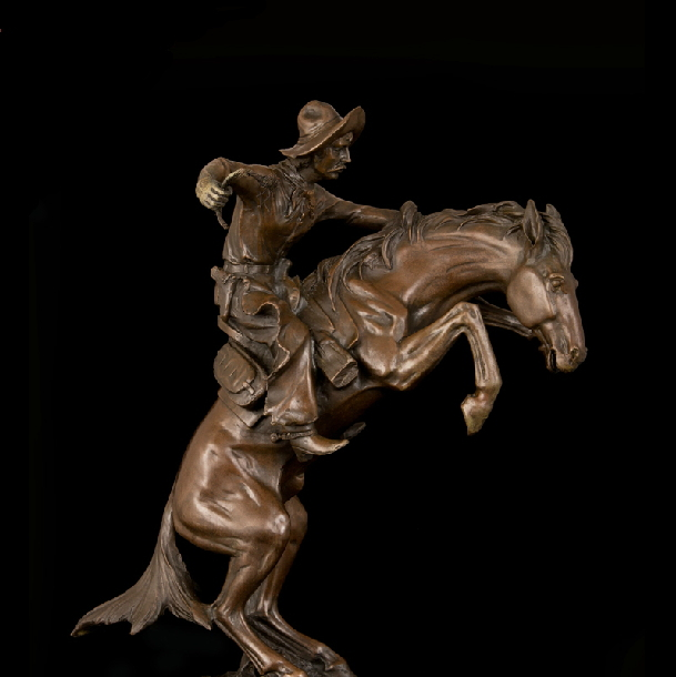 Artisanat en cuivre de renommée mondiale œuvre en laiton classique Antique en laiton frédéric Remington Statues en Bronze Base en marbre de collection