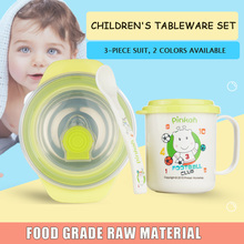 Stainless Steel Children Tableware Suit Children Cup  Bowl Fork Spoon Heat Preservation Bowl Feed Tableware cp 33 heat preservation stainless steel electric heating lunch box w egg tray spoon white