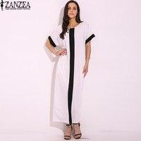 Vestido 2017 ZANZEA S 5XL Women Sexy Casual Summer Oversized Plus Size Splice Panel Stripe Patchwork