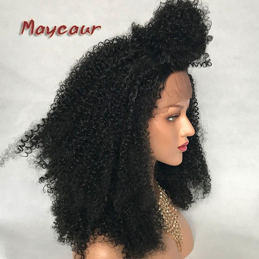 Afro Curly Wig Heavy Density Syntetisk Spets Fram Paryk För Svarta - Syntetiskt hår - Foto 4