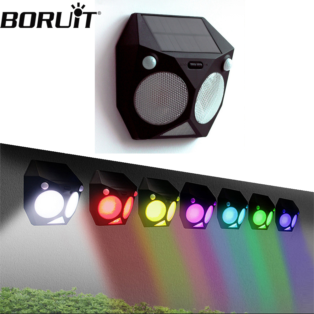 BORUiT LED Solar Light Dual Motion Sensor Wall Lamp IP65 Waterproof Colorful Outdoor Spotlights RGB Wireless Sunlight Path Light forest stream sunlight waterproof wall hanging tapestry