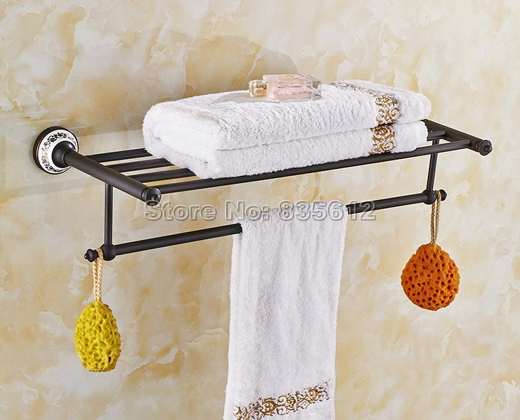 Black Oil Rubbed Brass Porcelain Base Bathroom Accessory Wall Mounted Towel Rack Holders Wba063