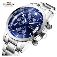 GUANQIN Man Watch Mens Watches Top Brand Luxury Luminous Chronograph Date Watch Men Sport Stainless Steel