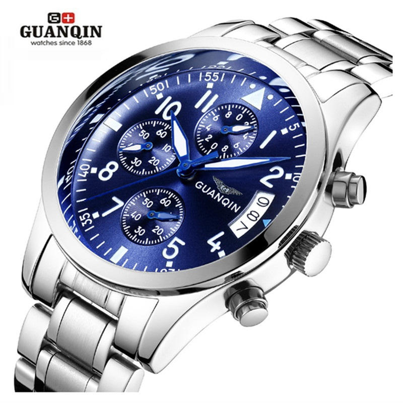 Men Watch Top Brand Luxury GUANQIN Chronograph Men Watches Luminous Date Men Sports Stainless Steel Clock reloj hombre guanqin gq10028 luxury men s watches tourbillon automatic mechanical leather watch men sport date luminous clock reloj hombre
