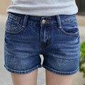 Verão nova cor clara shorts jeans feminino jeans reta ondulação mulheres simples calças curtas solto médio cintura tamanho curto mais