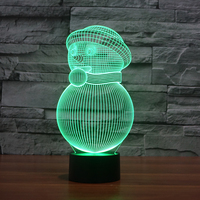 Snowman 3D Table Lamp Illusion LED Night Lamp 3D Optical Illusion Visualization LED Night Lights 7 Color Multicolored