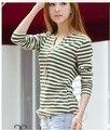New arrivals for Autunm/Fall Strips T-shirt Cotton Soft Autumn Women's long Sleeve 3 sizes All-match T-shirt Female Basic Shirt