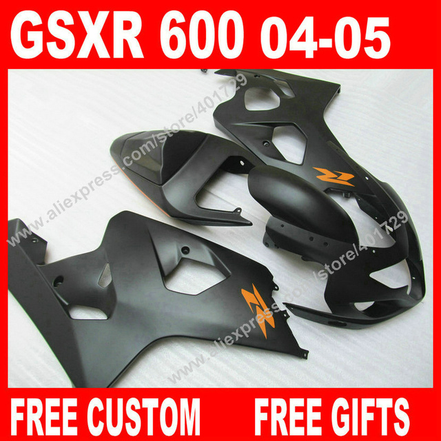 US $270 0 |Free custom Fairings for bodywork SUZUKI GSXR 600 750 2004 2005  new flat black gsxr600 parts 04 05 fairing kits 7 gift XJ94-in Covers &