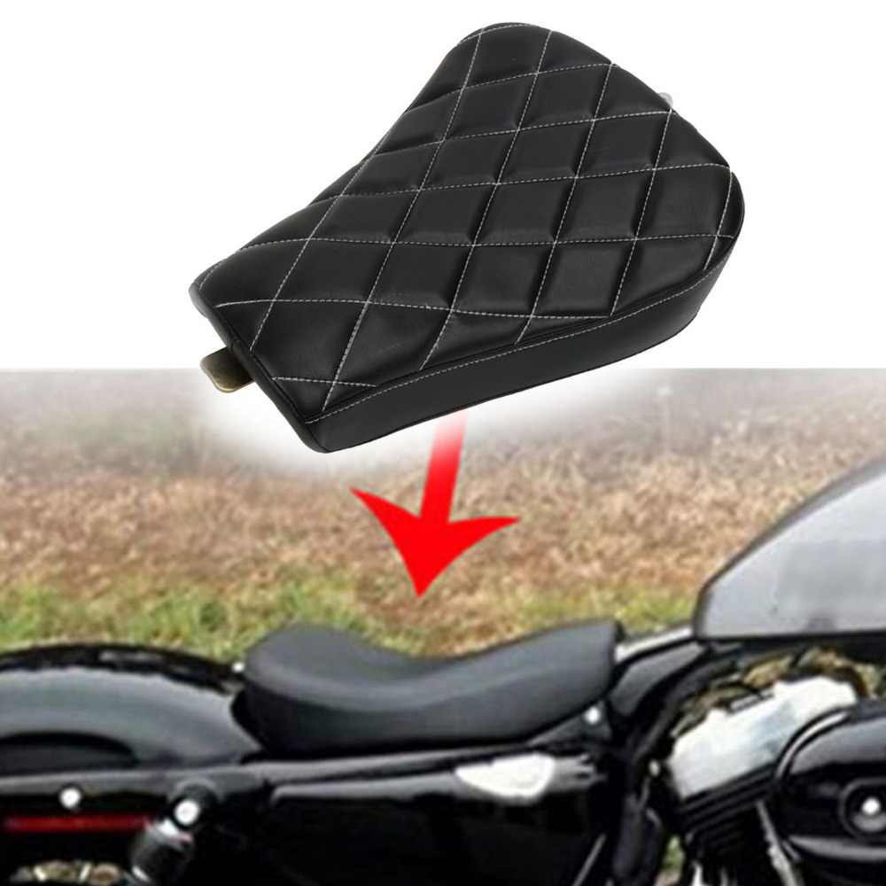 White Stitching Motorcycle Front Driver Seat Cushion Solo Seat Pad For Harley Sportster XL 1200 883 2007 2015 Bikes #MBJ009