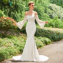 Dressv Off The Shoulder Mermaid Long Wedding Dress Long Sleeves Lace Chapel Train Church Princess Wedding