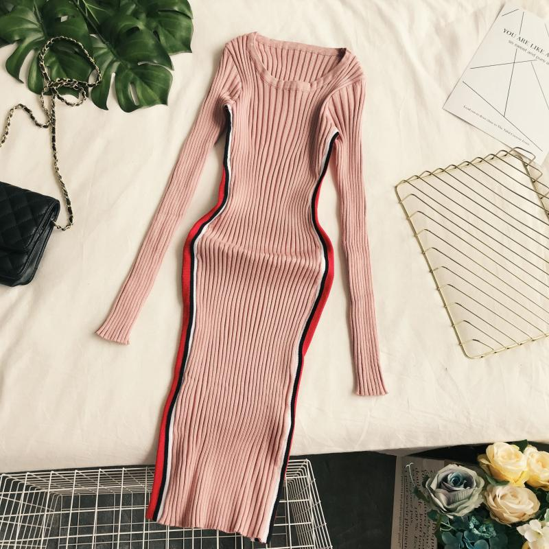 ALPHALMODA Autumn Winter Dress Women Long Sleeved Striped Stylish Rib Vestido 2018 Tunic Dress Fashion Clothing