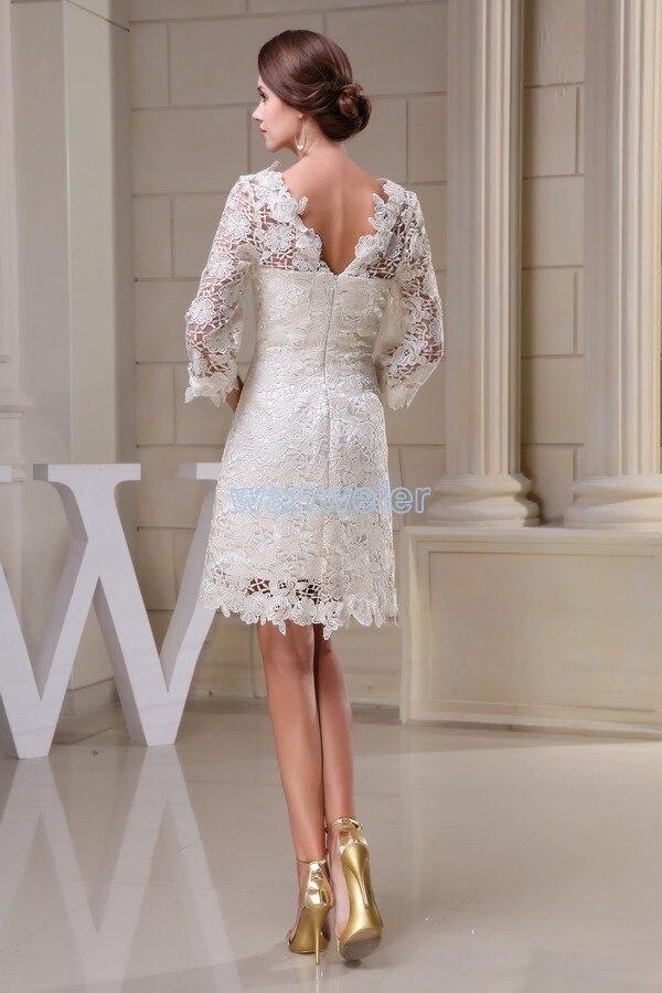 Livraison gratuite modeste 2014 nouveau design offre spéciale taille personnalisée grande taille robe plage à manches longues dentelle courte blanche robes de demoiselle d'honneur - 5
