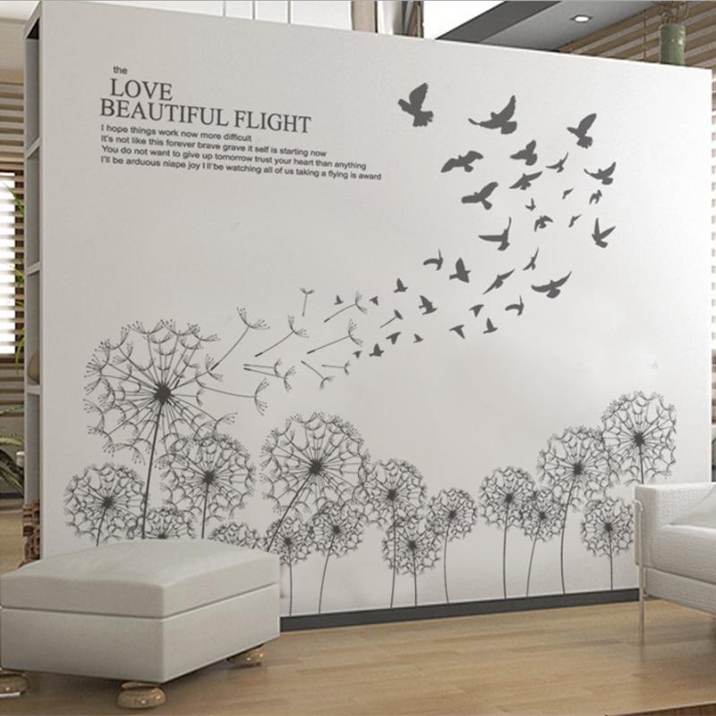 creative elegance furniture. new creative beautiful wall sticker dandelion diy elegant flying bird stickers living rooms decoration adesivo de elegance furniture