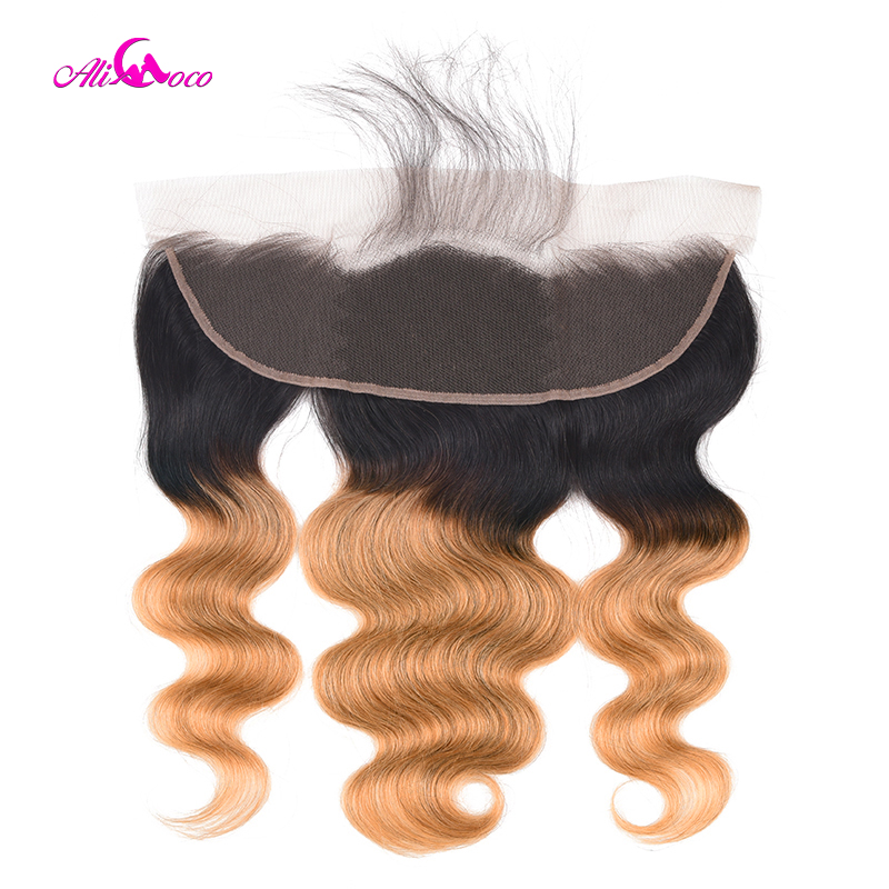 Ali Coco 1B/27 Two Tone Color Frontal Ombre 13x4 Ear To Ear Lace Frontal Closure Brazilian Body Wave Ombre Human Hair Frontal