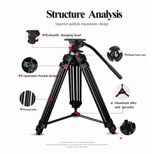 Miliboo MTT601A Professional Aluminum Tripod Stand for Canon Nikon Sony DSLR Cameras Camcorder w/ Panorama Hydraulic Ball Head