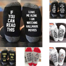 High 1Pair Hallmark Movies Soft Socks Christmas Letters Printed Women Winter Warm Gifts DSM