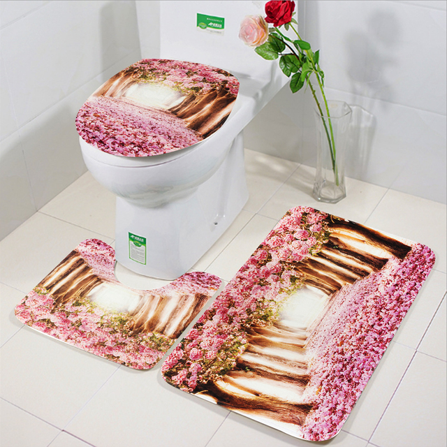 3Pcs Bathroom Print Flower Toilet Cover Pedestal Toilet Seat Mat+Lid+Bath Mat Non Slip Polyester Fiber Soft Decor Carpet Rug