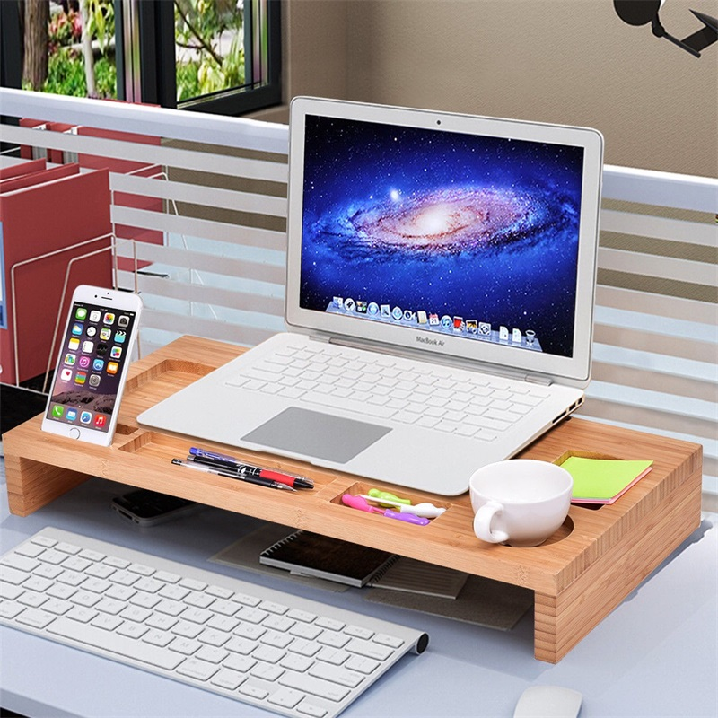 Bamboo Monitor Stand Riser Storage Laptop Desktop Stylish Appearance Eco-friendly And Sturdy Bamboo Board