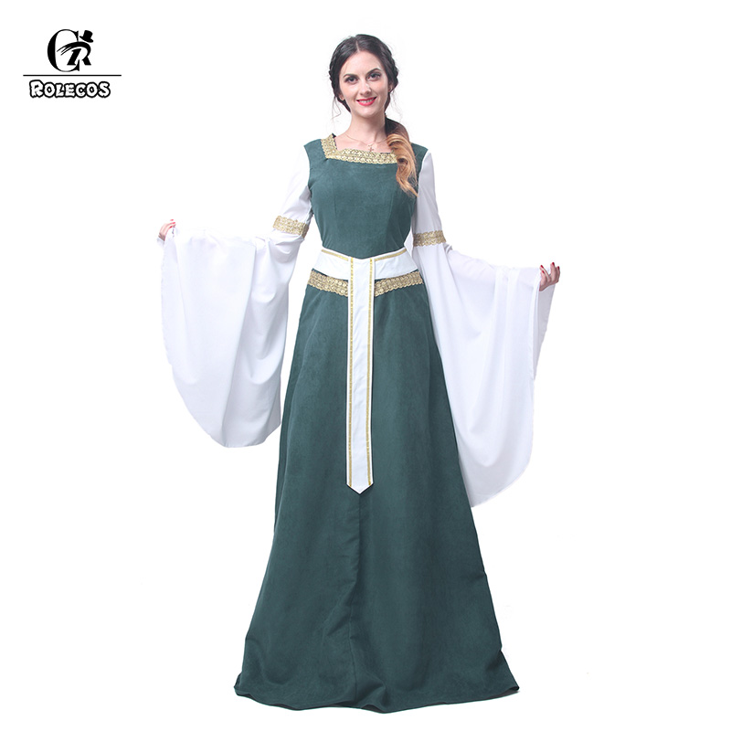 ROLECOS Women European Retro Dresses Medieval Renaissance Clothing with Belt Long Dresses Evening Dresses GC216 Ship From US