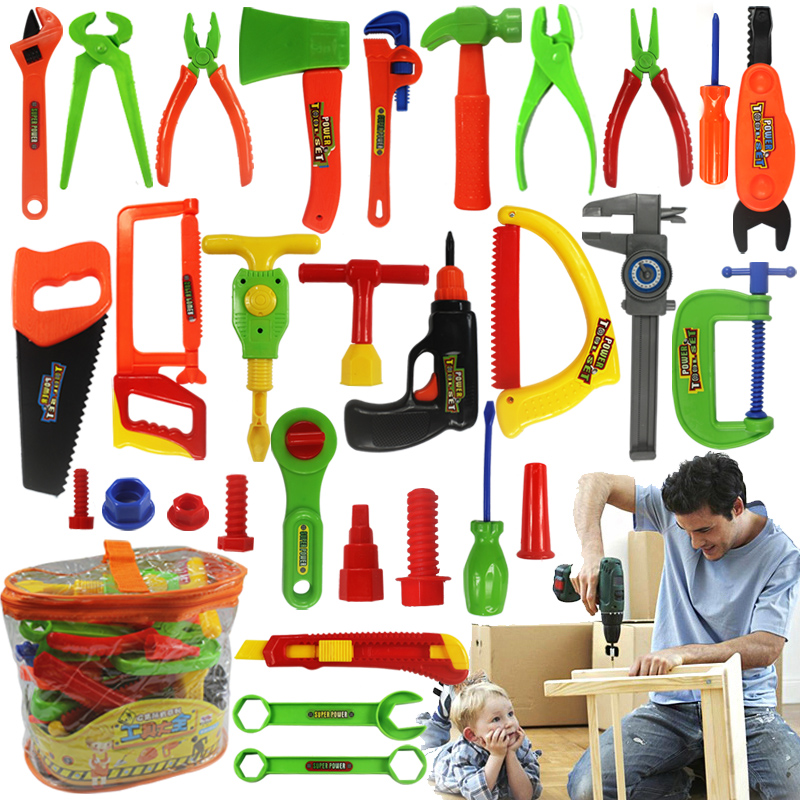 34pcs/set Boys Toy Repair Tools Ax Carpentry Plastic Simulation Tools Toy For Children Baby Early Learning Educational Toys