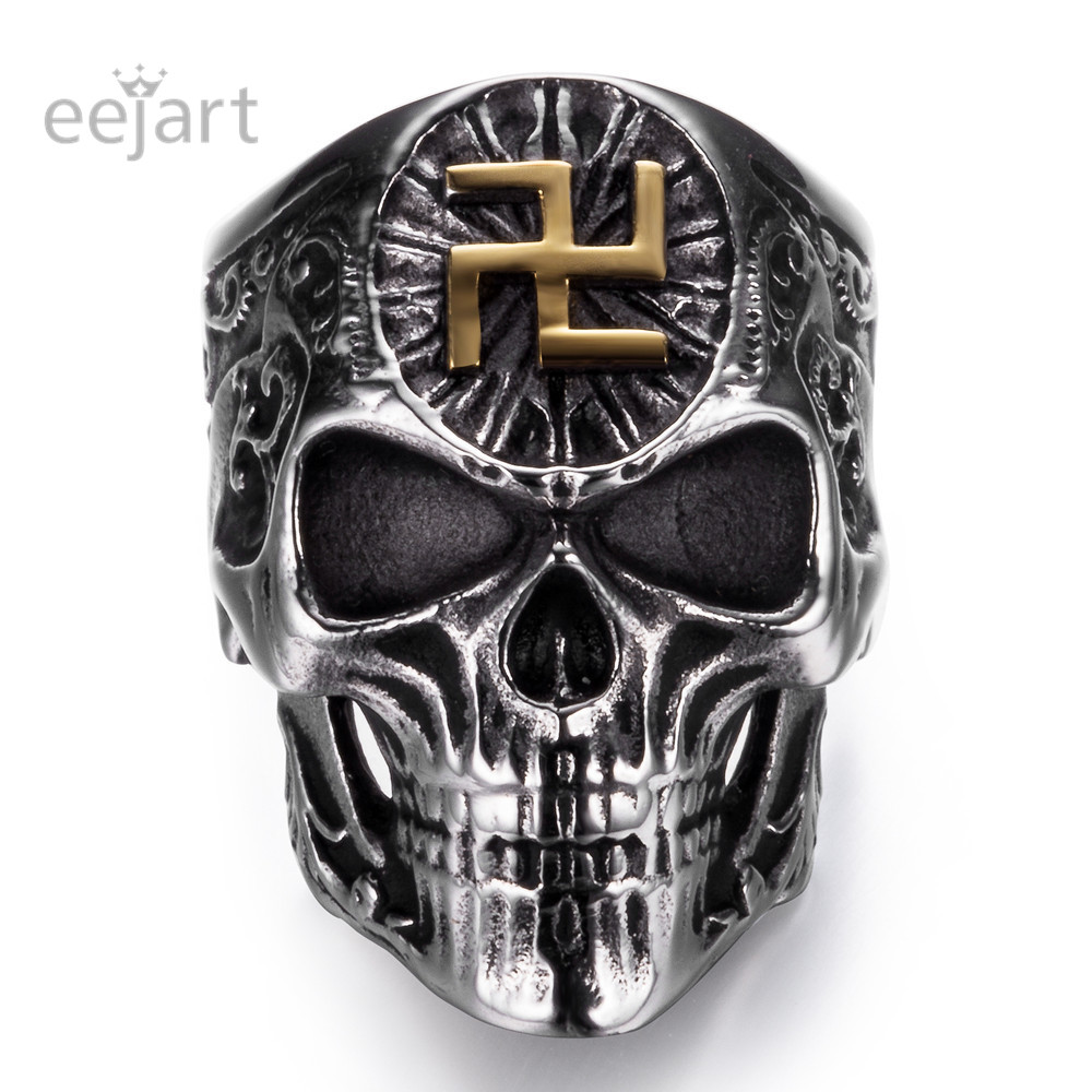 eejart Stainless Steel Buddhist Words skull rings Punk Mans High Quality Personality Ring