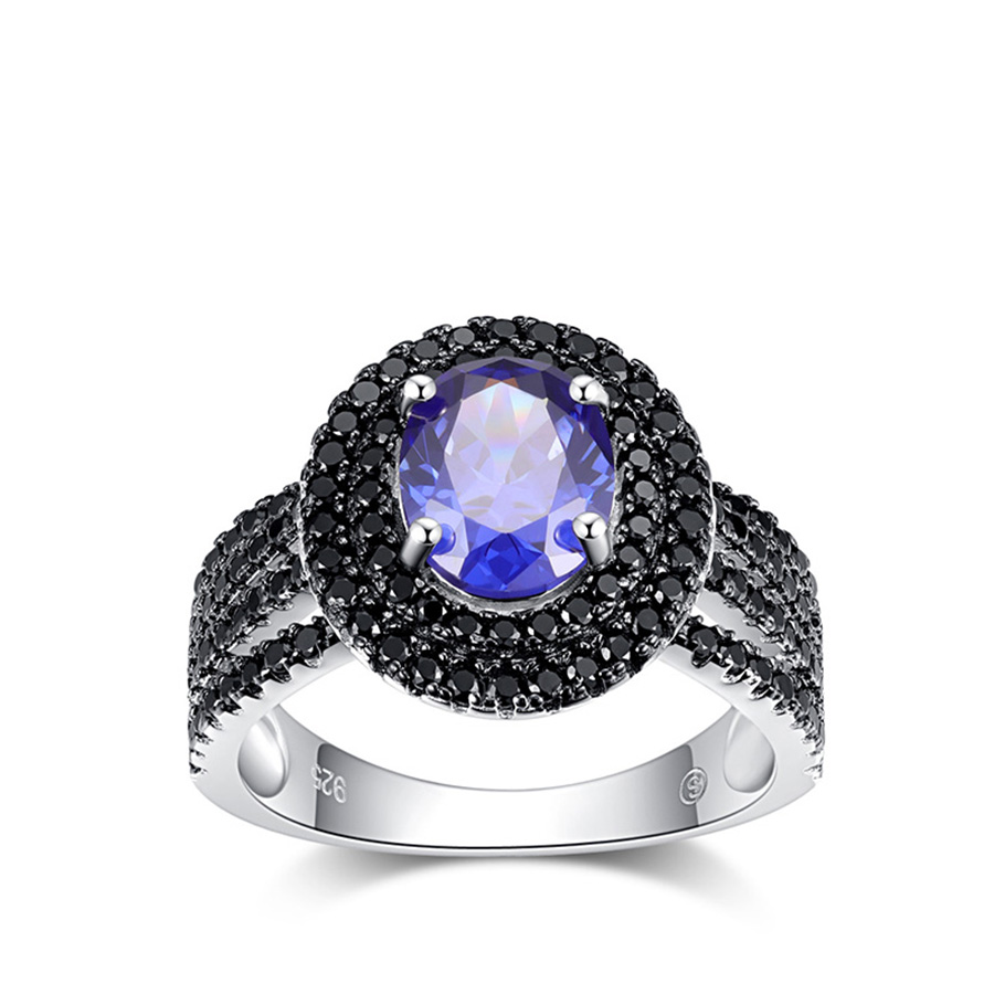 PJC Natural Gemstone Tanzanite And Black Spinel 925 Sterling Silver Ring