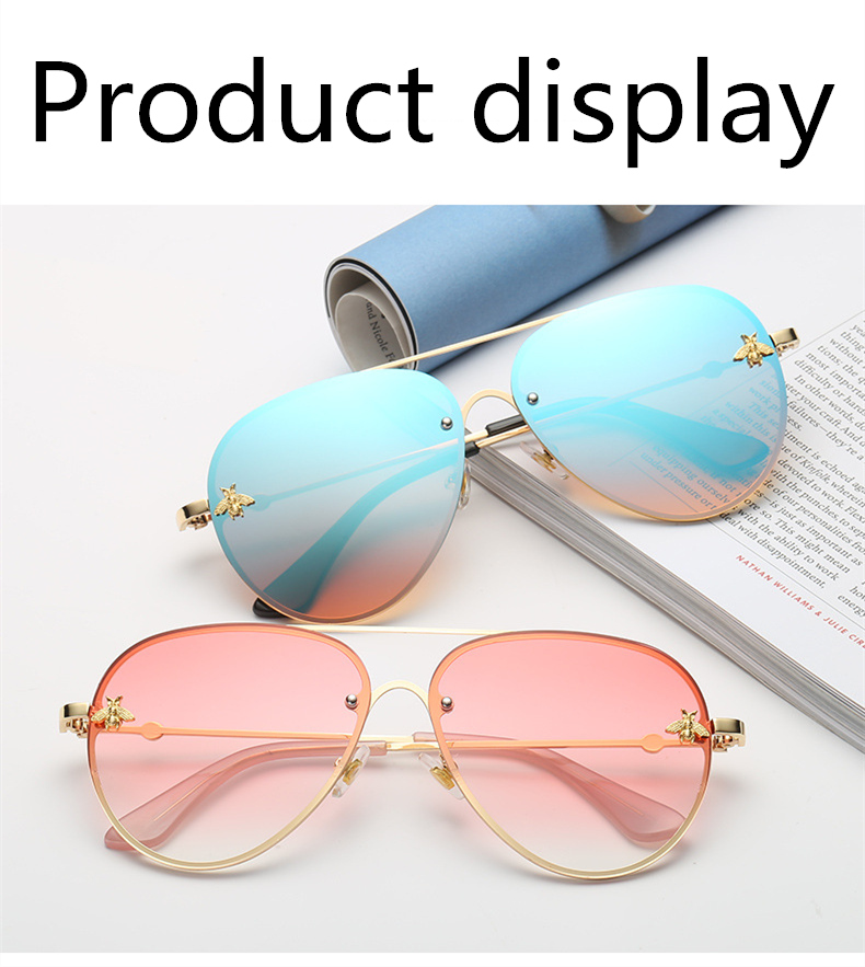 ASOUZ 2019 new fashion ladies sunglasses UV400 metal oval frame bee sunglasses classic brand design sports driving sunglasses (6)