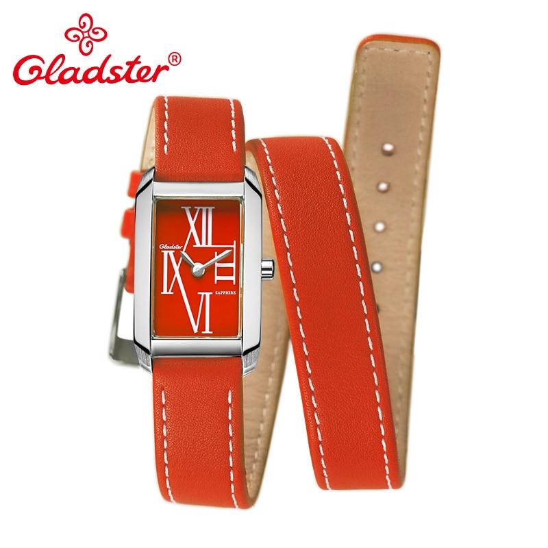 Gladster Luxury Japan MIYOTA 5Y20 Rectangle Ladies Dress Quartz Wristwatch Genuine Leather Female Clock Fashion Women
