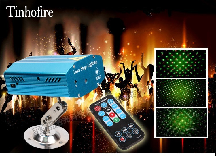 Tinhofire Remote Control Meteor Shower Stars Mini LED Stage Light Lamp R&G Laser Stage Lighting Sound Control DJ Disco Party KTV