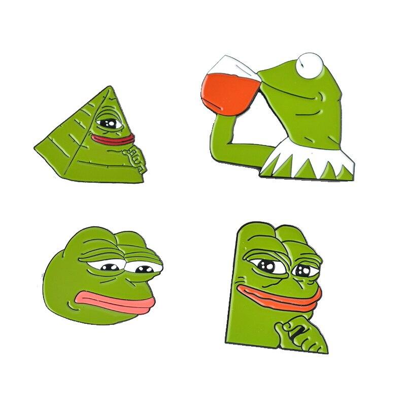 Und Ausland Weithin Vertraut. Broschen Hell Frosch Pepe Pin Denker Schlechte Mann Brosche Traurig Frosch Revers Pin Fühlt Sich Abzeichen Pop Kultur Pins Frosch Schmuck Geschenk Für Kinder Um Eine Hohe Bewunderung Zu Gewinnen Und Wird Im In
