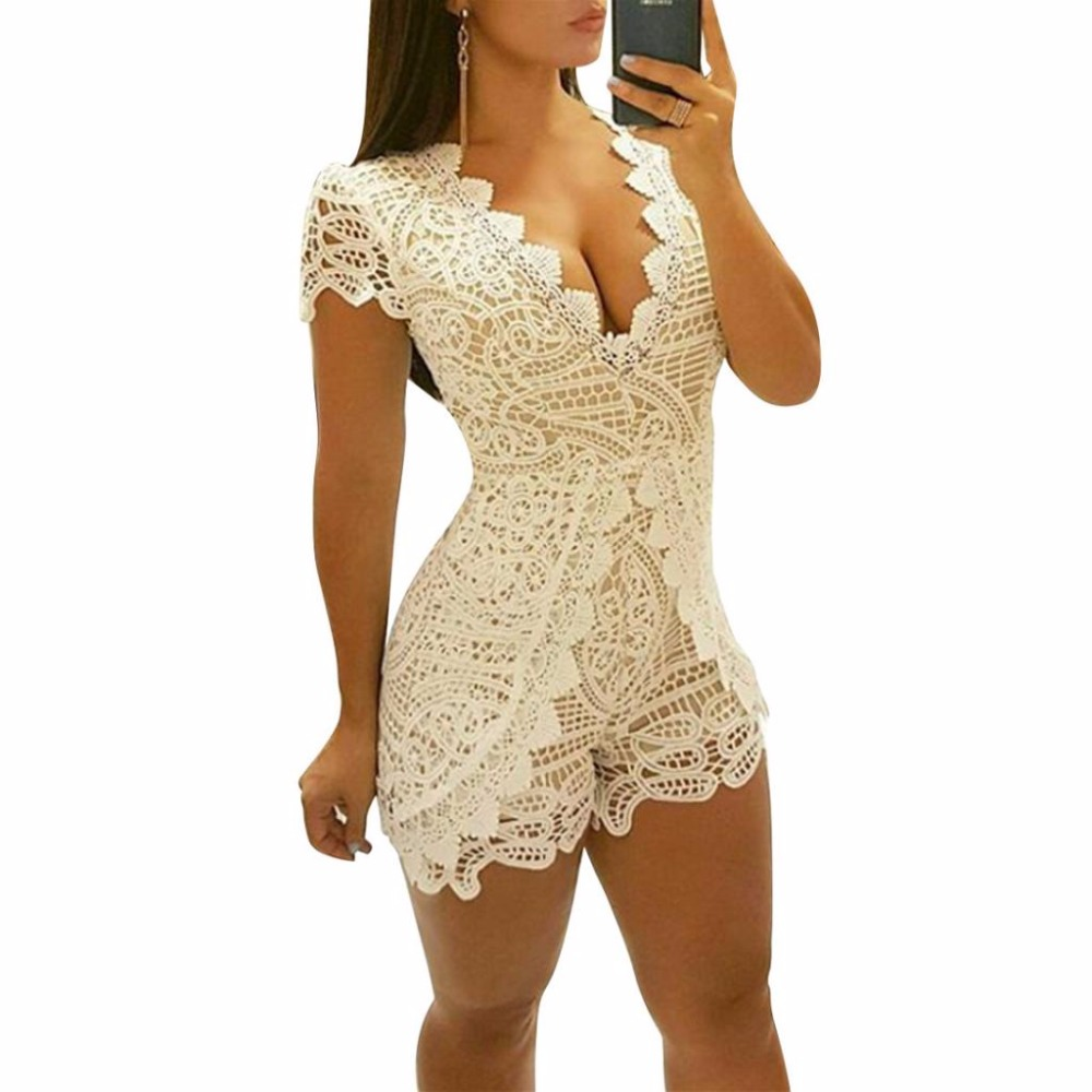 Women Sexy Lace Playsuits Short Sleeve V Neck Bodycon Rompers Lady Short Jumpsuit Hollow Out Solid Sexy Bodysuits 2017 Macacao