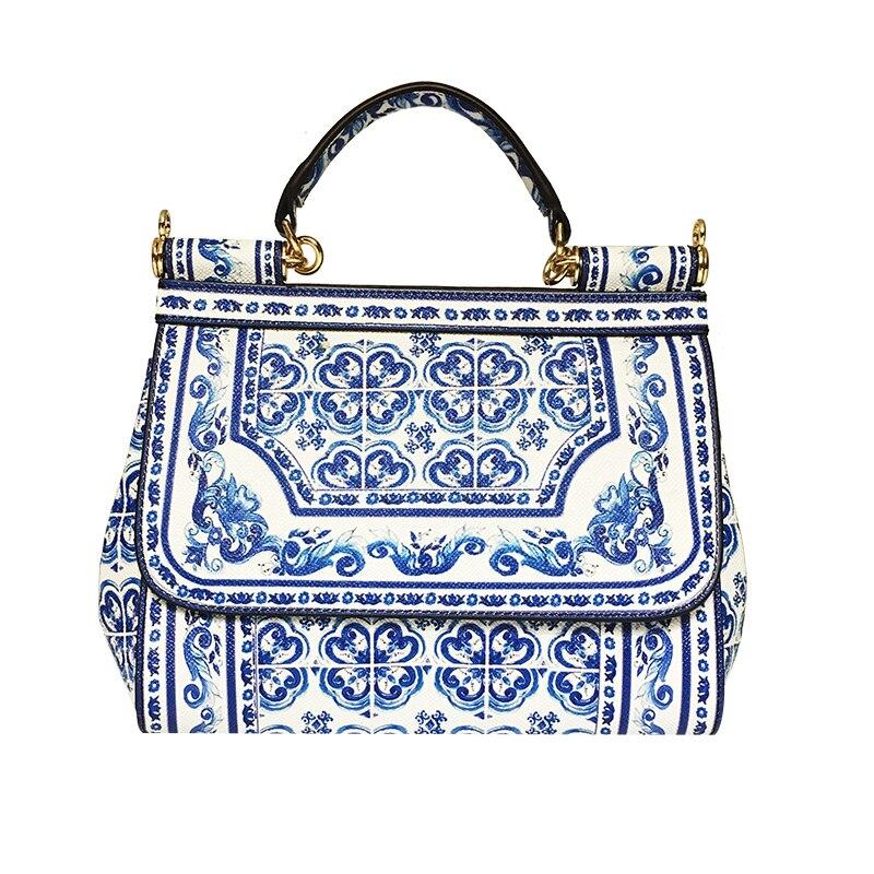 Mujer Luxus 2018 Floral Print print Bolsos Aus Satchel Echtem Handtasche Schulter Tasche Leder Berühmte Branded Majolica Taschen Blau Designer EUaaZq