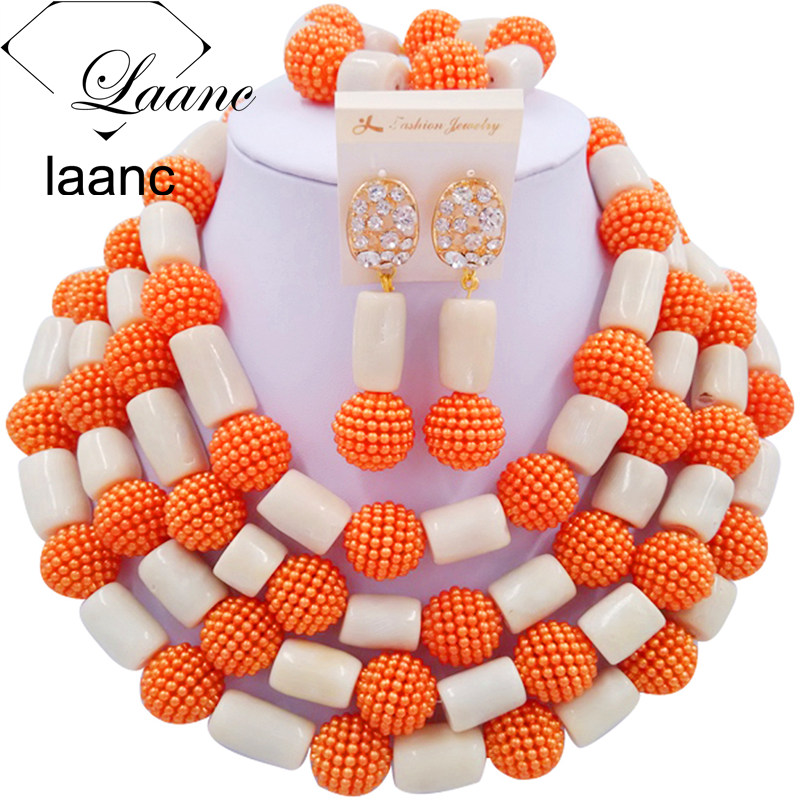 Laanc Brand White Coral and Orange Simulated Pearl Dubai Jewelry Sets Women Wedding Nigerian African Beads Necklace AL316