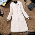 Женщины LongReal шуба О-Образным Вырезом мех Кролика меховой опушкой Природных Письмо Аппликации меховая куртка зима теплая пальто И Пиджаки пальто женщин