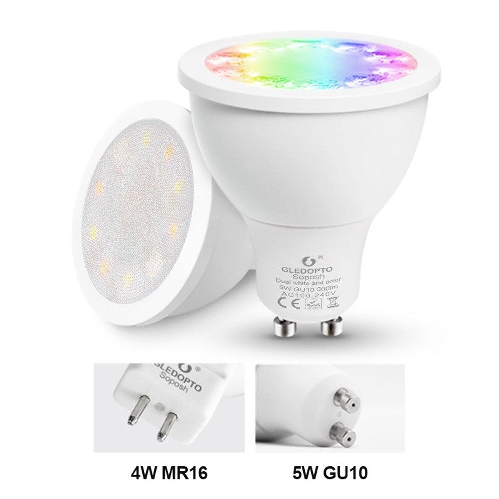 Купить с кэшбэком RGBCCT LED Spotlight ZIGBEE 3.0 GU10 MR16 4W 5W AC 110V 220V Dimmable Light Bulb DC 12V Smart Bulb Lamp Work with Alexa Plus