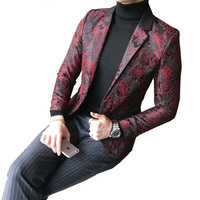 Mens Red / Blue Floral Blazer Jacket Slim Fit Big Sizes M 5XL Lapel Embossed Pattern One Button Stage Wedding Groom Suit Jacket