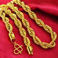 "7mm ancho espesor twisted cadena cuerda real yellow gold filled hombres collar de cadena de 23.6 ""de largo"