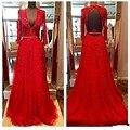 Novo design e delicado vestido ah vermelho longa noite em 2016 V contas sem encosto de uma cadeira é obtido da tubulação flexível vestidos de noite G9