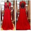 Nuevo diseño y delicado vestido rojo ah larga noche en 2016 V se incorpora de cuentas sin respaldo de una silla de noche vestidos de tubo flexible G9