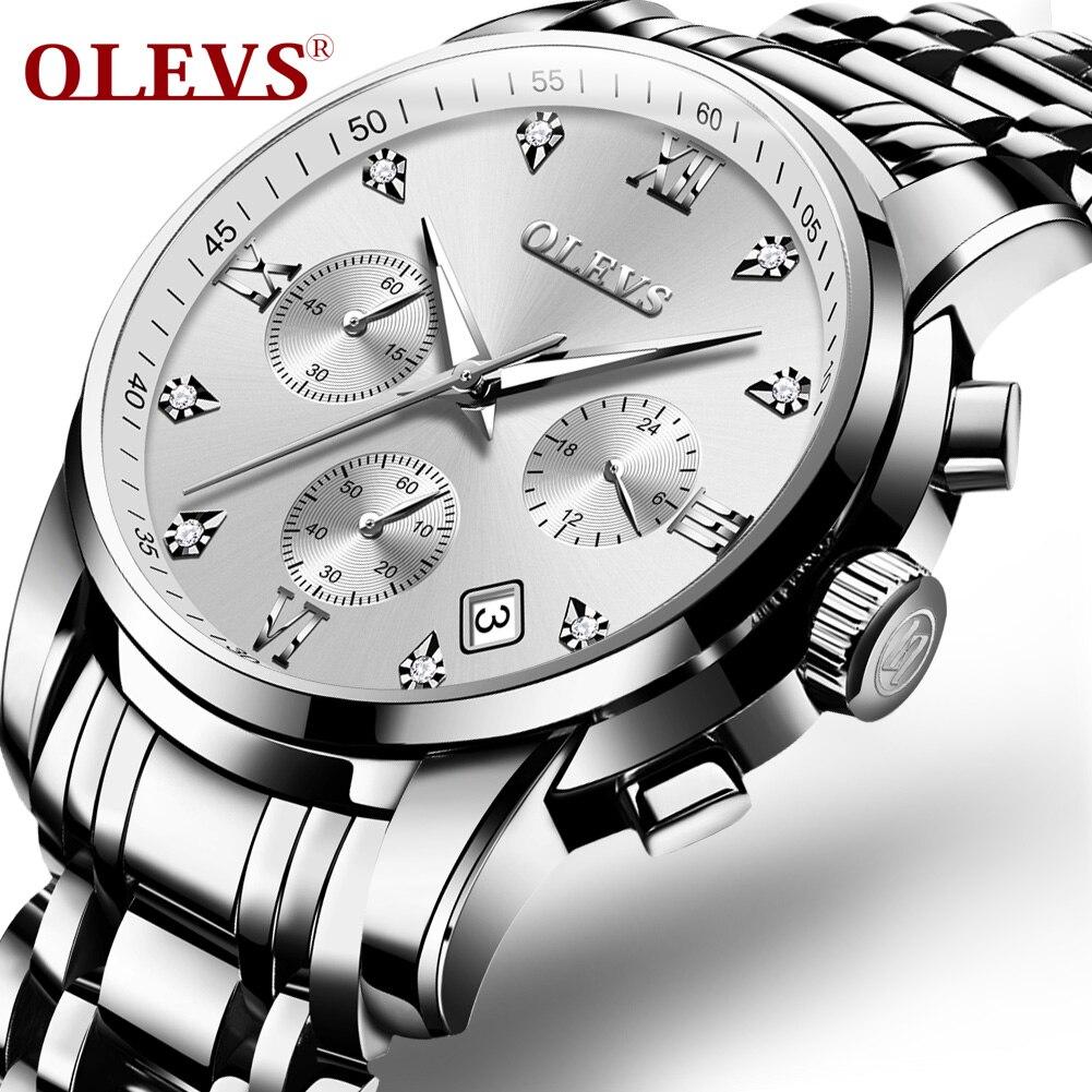 14417bad7ea6 OLEVS Relogio Masculino de los hombres de acero inoxidable clásico de  diamante de imitación de moda escala romana relojes reloj 2858