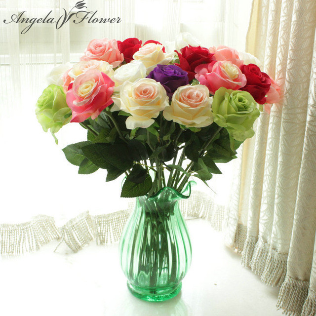 Buy 24pcs lot fresh rose artificial for Angela florist decoration